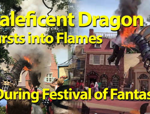 Maleficent Bursts into Flames in Festival of Fantasy Parade at Magic Kingdom at Walt Disney World