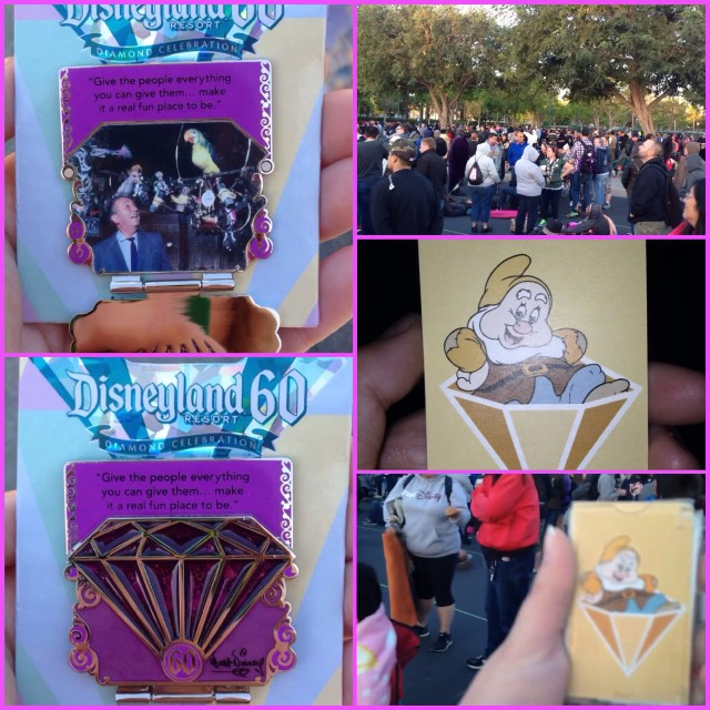 On this glorious windy day, the fourth pin of the 60th Anniversary Countdown Series was released. The purple diamond pin is 4 of 7 in the set and limited edition 3000. Guests lined up early in the Downtown Disney Parking lot in hopes of obtaining the pin. Those that were placed in line were handed a card with one of the dwarfs from Snow White. Several colored cards were issued as the line began to grow. Once wristband distribution began at 7 a.m., guests traded in their card for a wristband. From there, there were three options of wristbands, one for each store with the purple diamond pin. The only stores on resort property that sell this pin are Trolley Treats in DCA, Store Command in DL and Pin Traders in DTD. Though it was a windy and cold morning, many showed up including DAPs Magic writer @amanda_alva and friend @skmayor. The event was more organized that the last diamond pin release. Things ran smooth and efficient!! Upon exiting, it appeared that no more wristbands would be distributed except to those with a colored card containing a dwarf. The next diamond pin to be released is the yellow pin on May 14. #disneyland60 #disneypins #disneylandresort #diamondpin #pins #pintrading