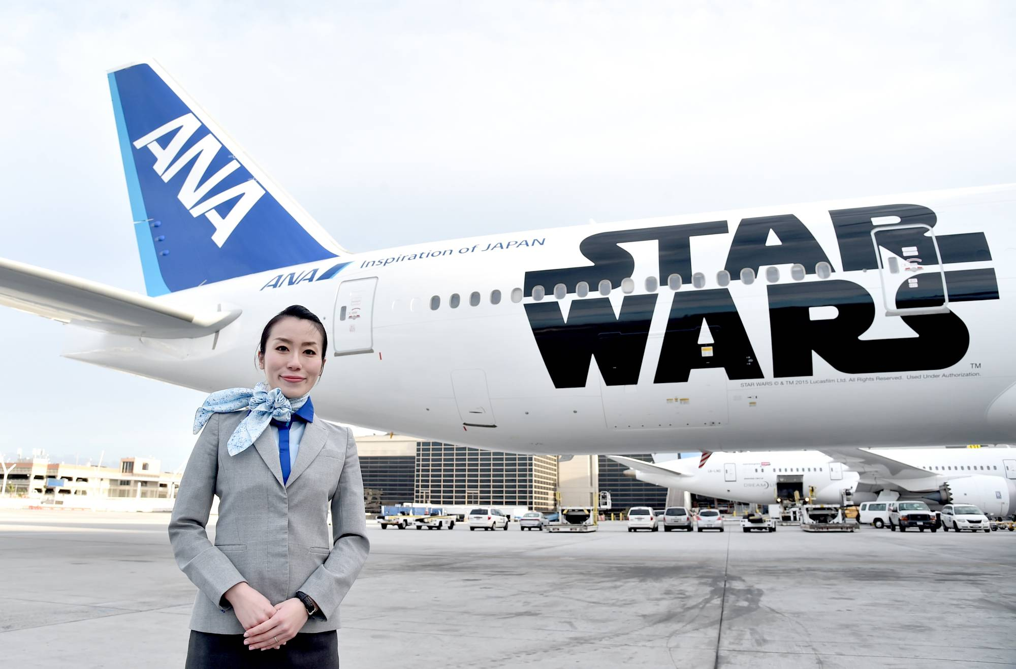 ANA's BB-8 Themed Jet Lands at Los Angeles International Airport