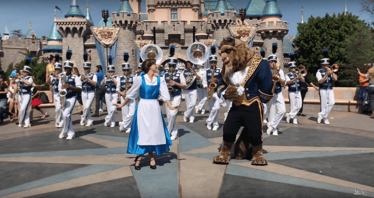 Beauty and the Beast Join Disneyland Band in Front of Sleeping Beauty Castle