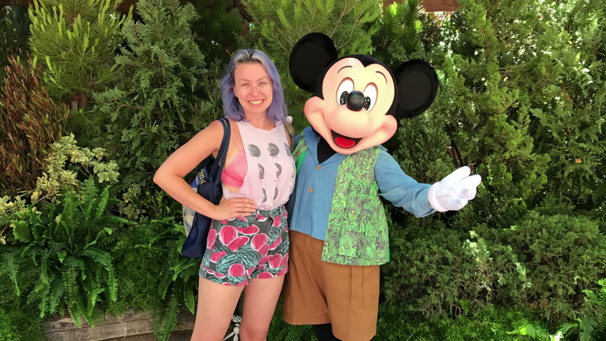 Caitie Bear and Talking Mickey in Disney California Adventure