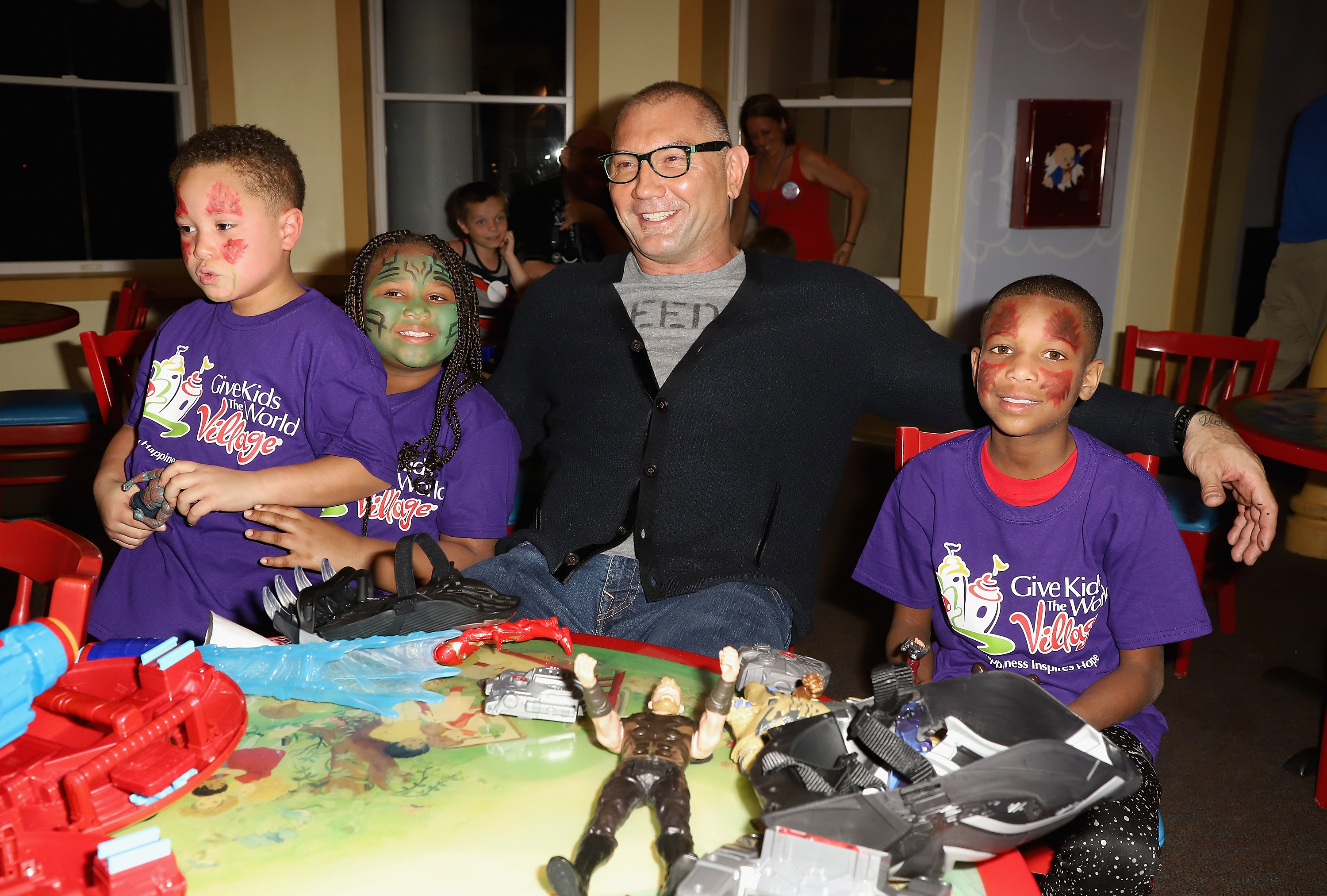 Dave Bautista Surprises Children at Give Kids The World Village for Marvel: The Universe Unites Campaign Donation