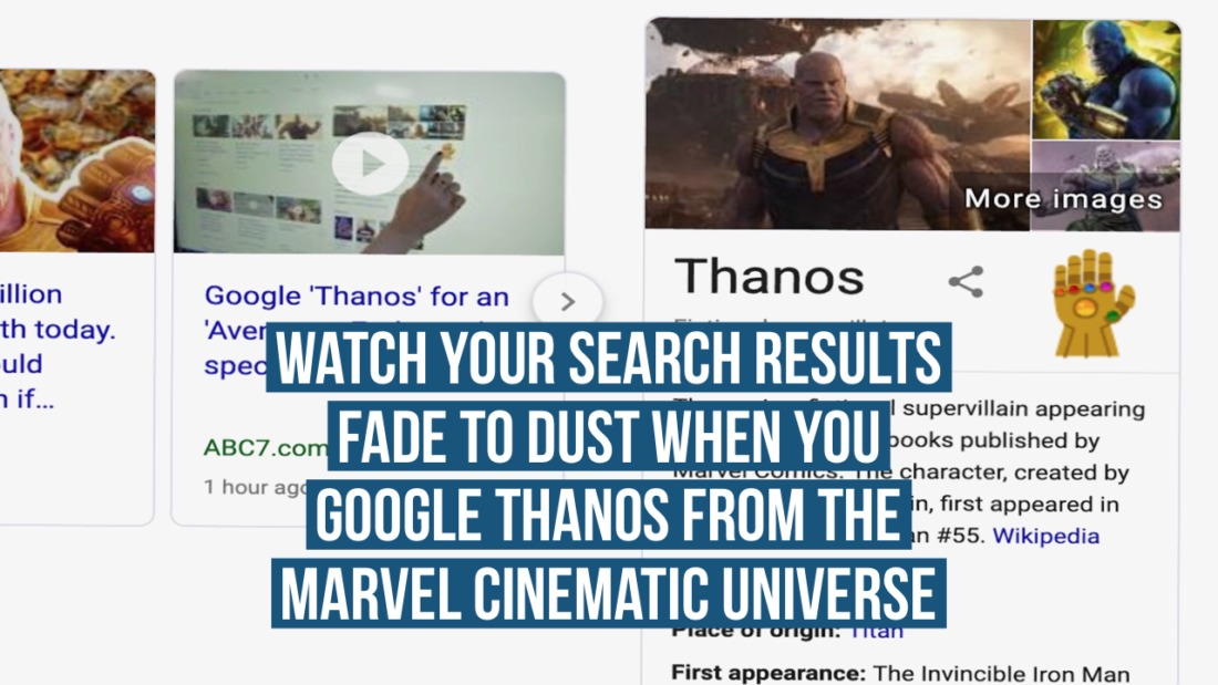 Watch Your Search Results Fade to Dust when You Google Thanos from the Marvel Cinematic Universe