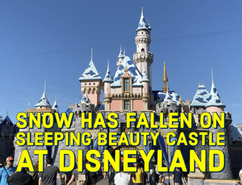 Snow Has Fallen On Sleeping Beauty Castle at Disneyland