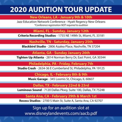 2020 Disneyland Resort All-American College Band Audition Dates