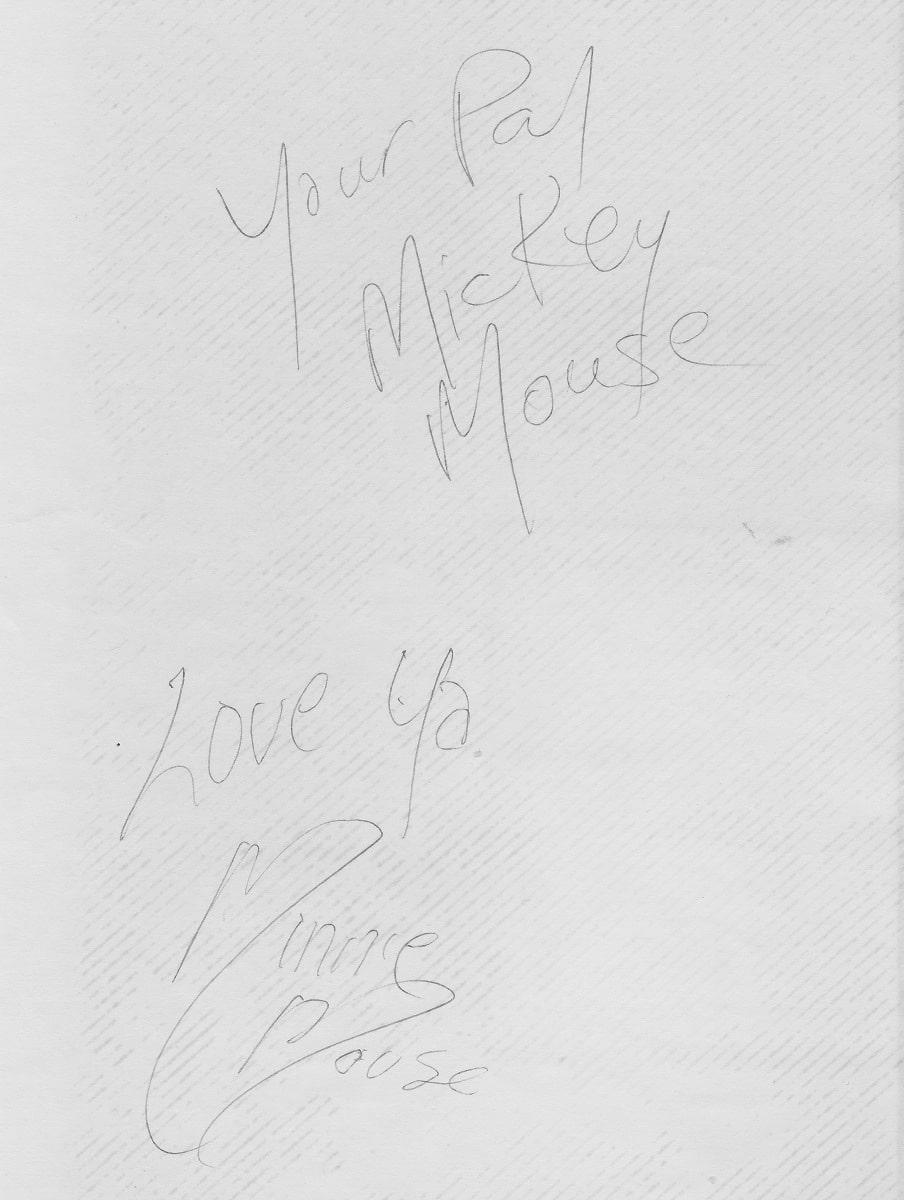 Mickey and Minnie's autographs: He's my pal, and she loves me!