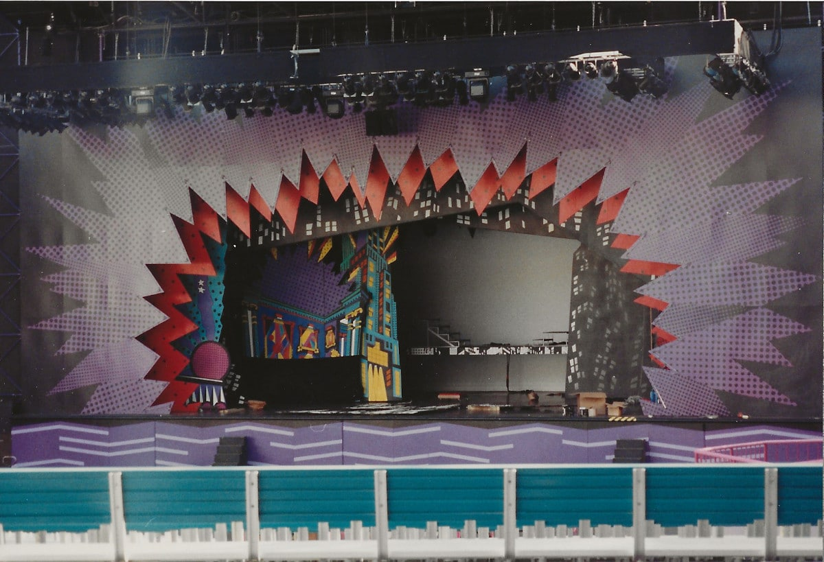 Work in progress on the Videopolis stage