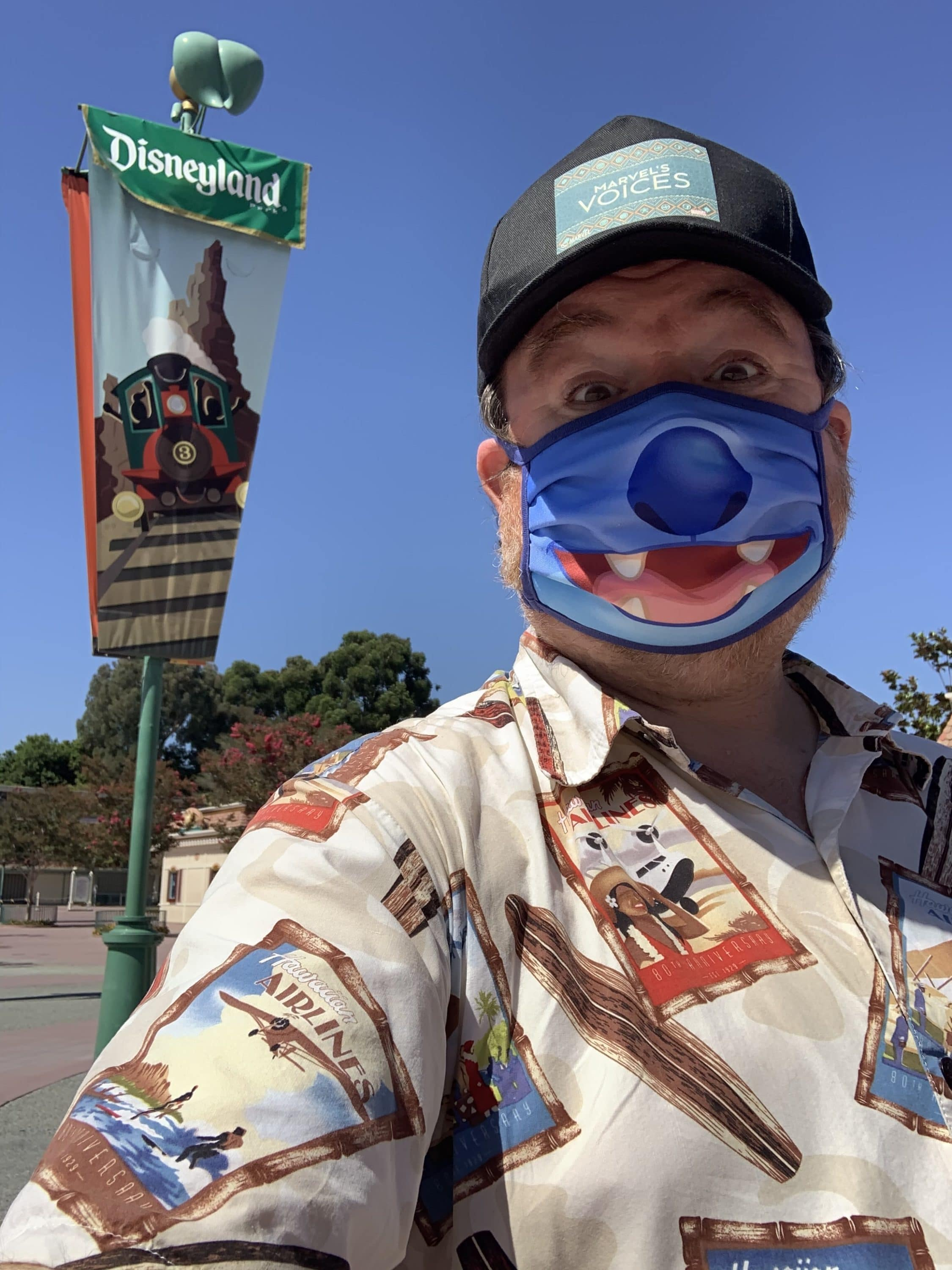 Doug Marsh with Disney Face Covering at Downtown Disney District